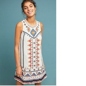 Anthropologie REAGAN EMBROIDERED SHIFT DRESS new